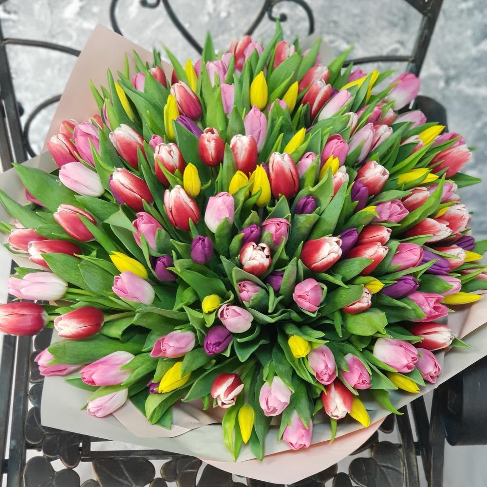 Весенний букет из 151 разноцветного тюльпана