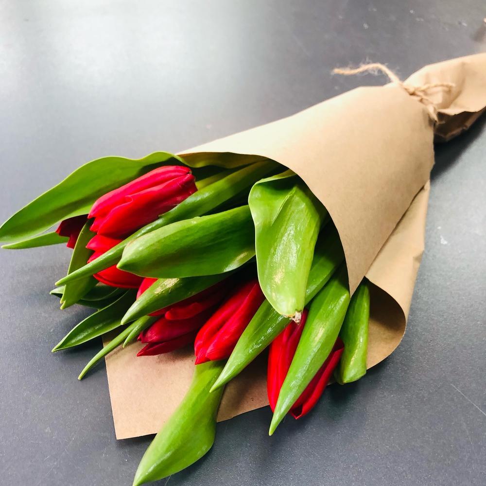 Комплимент из 7 красных тюльпанов